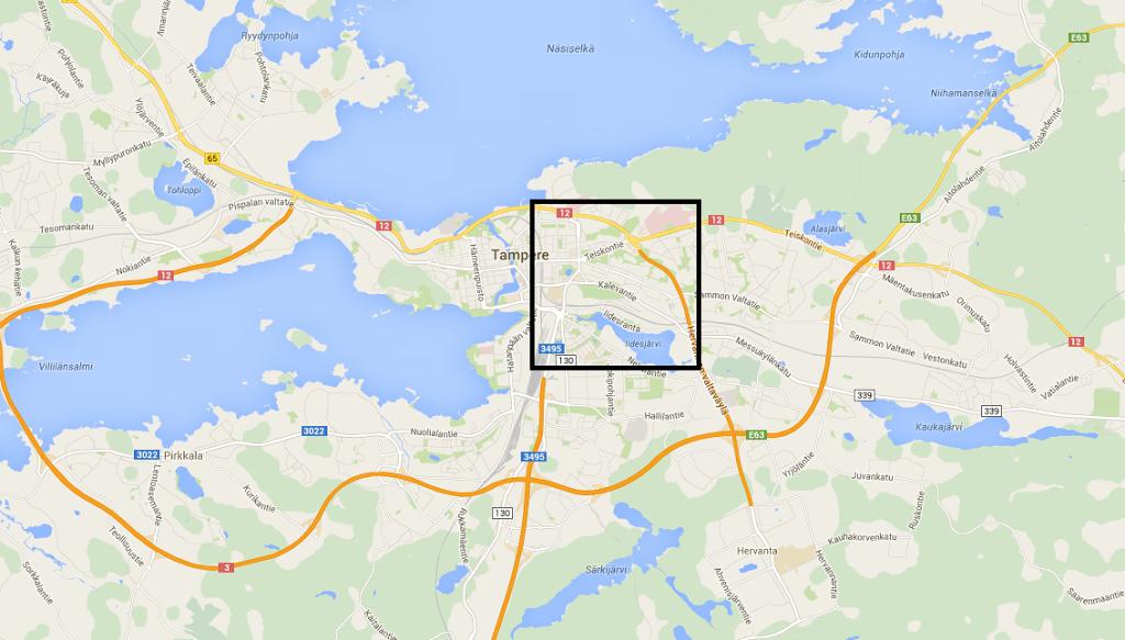 Pysäköintiin varattu tila Tampereen kantakaupungissa (Tampere, pl. Teisko)