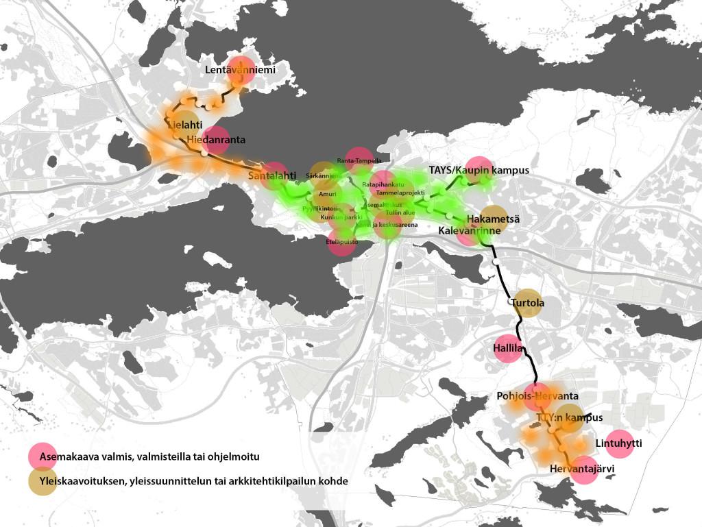 Eräs hahmotelma Tampereen kaupunkipyöräjärjestelmäksi. Alkuvaiheen 25 pysäkkiä vihreällä ja myöhemmän vaiheen 25 pysäkkiä oranssilla.