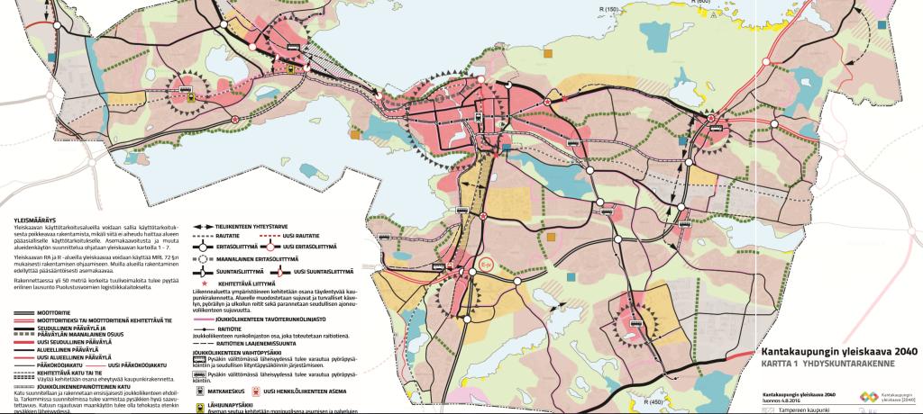 """Kantakaupungin yleiskaavan yhdyskuntarakenne. Punaisella alueet, joille voidaan ajatella """"keskustamaista asutusta"""", eli käytännössä ratikkareitin varrelle olisi mahdollista tehdä nauhamainen ketju urbaania tilaa - joka keskustassa olisi varsin laaja saareke."""
