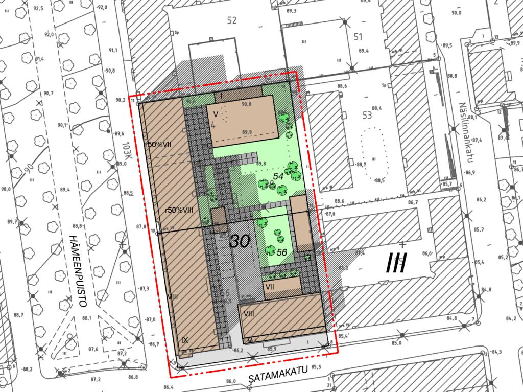 Havainnekuva tulevaisuudesta, yksikerroksinen lamelli korvautuu kahdeksalla kerroksella asuntoja.