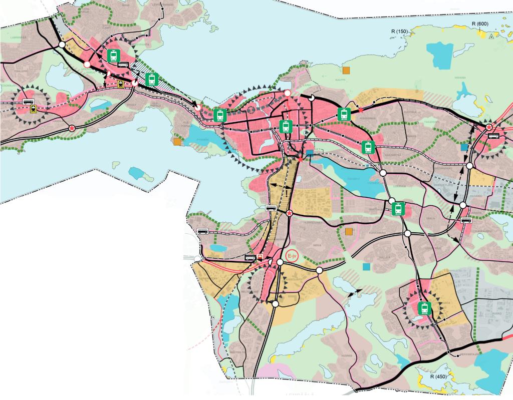 Mitä on tehtävä. Yleiskaavan keskusta-alueet punaisella ja olennaiset kaupunkirakennetta täydentävät ratikkapysäkit vihreällä.